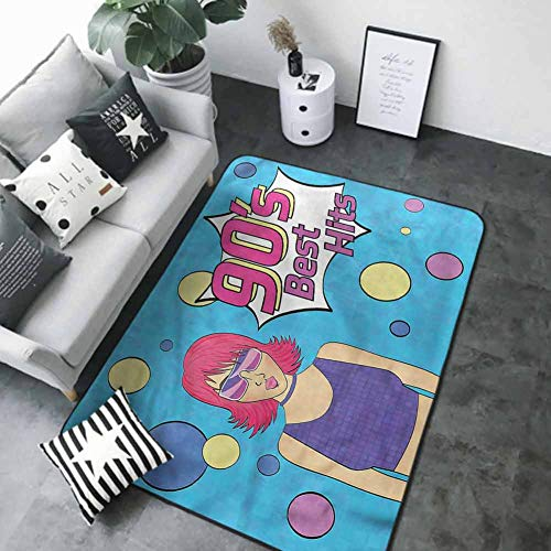 Floor Mat for Toilet Non Slip 90s,Disco Girl 90s Best Hits Phrase 84 x 60 in Carpet Flooring