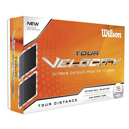 Wilson Staff, Weiche 2-teilige Herren Golfbälle für maximale Reichweite, 15er-Pack, 70er Kompression, Weiche Ionomerhülle, Tour Velocity Distance, Weiß, WGWR60100