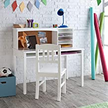 Guidecraft Children's Media Desk and Chair Set White: Student Study Computer Workstation, Wooden Kids Bedroom Furniture