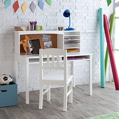 Guidecraft Children's Media Desk and Chair Set – White: Student