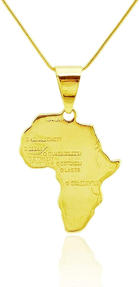Passage 7 18K Real Gold Plated Map of African Pendant Necklace USA Made