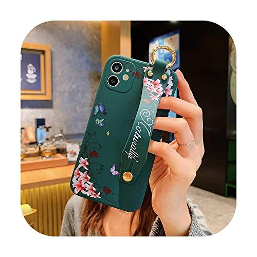 Funda para teléfono con correa de muñeca para iPhone 12 Pro 11 Pro Max XR XS Max X 7 8 Plus 12Mini Cute Cactus Flowers Back Cover para iPhone 12 11-T1-Para iPhone 7 Plus