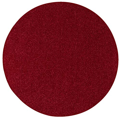 Ambiant Pet Friendly Solid Color Area Rug Burgundy, 5' Round