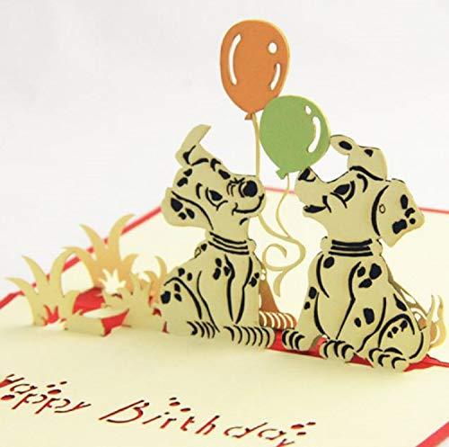 BC Worldwide Ltd handgemachte 3D Pop Up Geburtstagskarte Dalmatiner Hund Tier Haustier Partner Freund Papercraft Laser geschnitten Origami Kirigami Land Vintage Ballon Geschenk