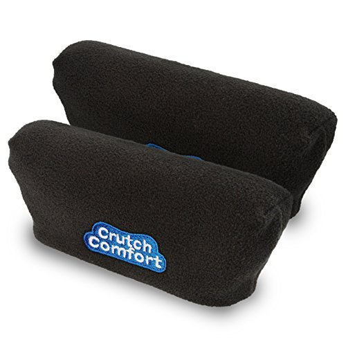 Universal Crutch Underarm Pad Covers - Luxurious Soft Fleece with Sculpted Memory Foam Cores (Classic Black)