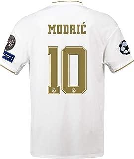Saint George Real Madrid 2019-2020 New Season #10 Modric Men's Home Soccer Jersey & League Armbands Color White (S-XL)