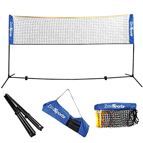 ZENY 10ft Portable Badminton Net and Frame for Tennis, Soccer, Pickleball, Kids Volleyball Indoor Adjustable Height 2.5ft to 5ft for Outdoor Court Backyard Beach Games