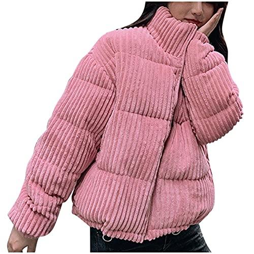 URIBAKY - Abrigo de invierno para mujer, de terciopelo acanalado, manga larga y cremallera de color liso, con cierre de plumón con capucha, rosa, S