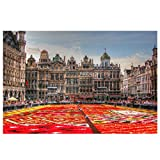 Lomoko Flores Alfombra Grand Place Bruselas Bélgica Lienzo Pintura Carteles Cuadro de Arte de Pared para decoración de Sala de Estar impresión en Lienzo 50x70 cm sin Marco