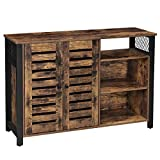 VASAGLE Storage Cabinet, Sideboard with 2 Doors, Adjustable Shelves, for Dining Room, Living Room, Kitchen, 114 x 35 x 75 cm, Industrial Style, Rustic Brown and Black LSC083B01