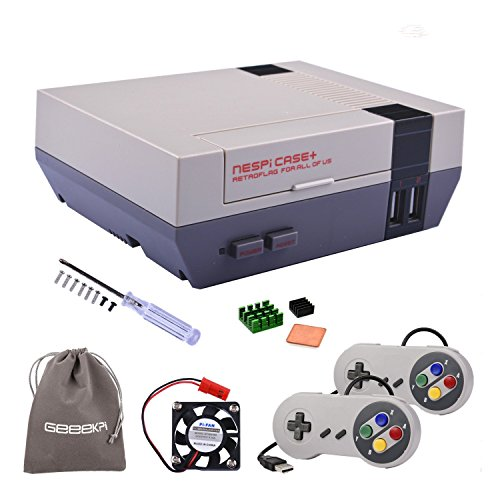Retroflag NESPi Case+ Plus with USB Wired Game Controllers & Cooling Fan & Heatsinks for RetroPie Raspberry Pi 3/2 Model B & Raspberry Pi 3B+