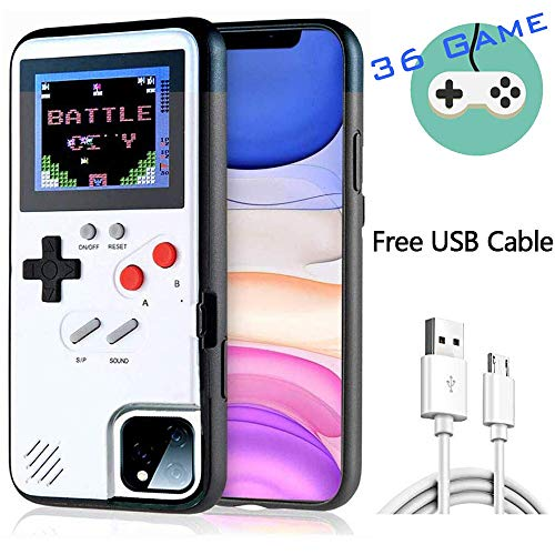 HARDER Gameboy Case for iPhone Retro 3D Design Style Silicone Protective Case with 36 Small Games, Color Display Shockproof Video Game Phone Case for iPhone 11 (White)