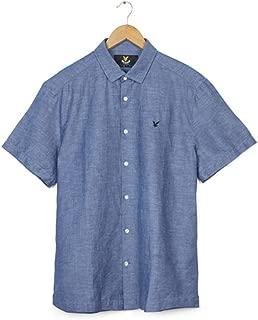 Lyle and Scott Men's Vintage Cotton Linen Shirt Present XL Blue