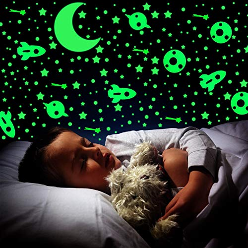 524 PCS Glow Dark Stars Wall Stickers Decals Decor, 3D Glowing Stars Bright Realistic Starry Sky Shining Decoration, for Ceiling Walls Kids Bedroom Bedding Room Gift