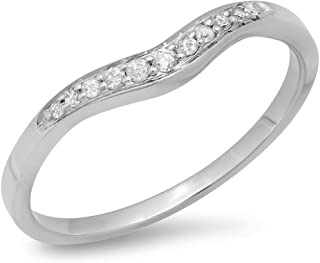 Dazzlingrock Collection 0.11 Carat (ctw) 14K Gold Round White Diamond Ladies Anniversary Wedding Stackable Contour Guard Band