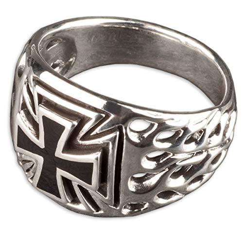 viva adorno Herren Ring Eisernes Kreuz schwarz Flammen Siegelring Daumenring 925 Sterlingsilber SR13, Gr. 71