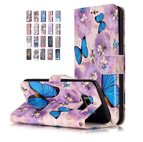 E-Flamingo Funda Samsung Galaxy S8 Cartera Mariposa Morada Diseño Cuero con Iman Cierre Tarjetero Libro Silicona TPU Gel Bumper Shell Cover 360 Grados Protección Inquebrantable para Mujer Chica