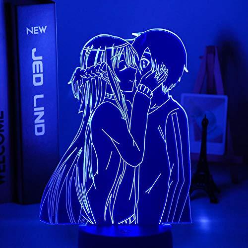 Luz De Noche LED Con luz De Ilusión 3D Anime Sword Art Online Muebles de dormitorio Dormitorio Regalos de cumpleaños para mujeres y hombres Konosuba Comics Lámpara de mesita noche para niño y niña