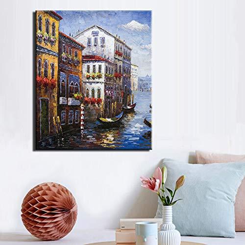 BUHUAZXM Abstract canvas schilderij stad water schilderij druk op canvas muurkunst schilderij voor woonkamer decoratie 60x80cm Geen frame.