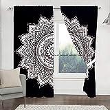 Sophia-Art Juego de 2 cortinas hippie indias para colgar en la pared, diseño de mandala, color negro y blanco, para ventana, 82 unidades, longitud