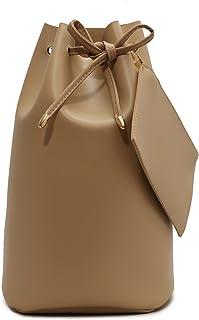 Ganghuo Sac à dos à bandoulière pour femme avec cordon de serrage et petit sac à main, couleur unie pour les trajets quoti...