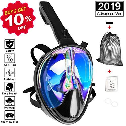 Baulanna Máscara de Buceo 180° Vista Panorámica Buceo,Máscara Snorkel Máscara para Buceo Anti-Fugas y Anti-Niebla para Interiores y Exteriores