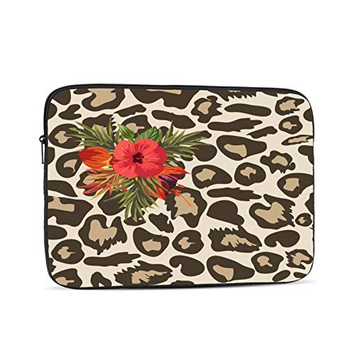 Leopard Print Hibiscus Flowers Zipper Laptop Sleeve Case Notebook Computer Bag portable Universal Case Sleeve Polyester for 13 Inch