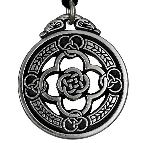 Pewter Celtic Knot Warrior Shield Pendant Necklace