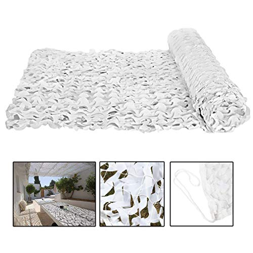 Filet de camouflage blanc,Filet de Protection Solaire en Tissu Oxford Double Couche 150D,Filet de Camouflage Militaire,pour Stores/Housse de Voiture/Décoration,Personnalisés(10x10m/32.8x32.8ft)