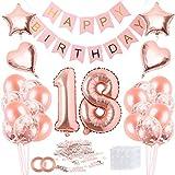 Bluelves Rose Gold 18. Geburtstagdeko,18 Geburtstag Dekoration – 42 Stück Geburtstagsdeko, Happy Birthday Ballons Banner, Konfetti Luftballons, Riesen Zahl 18 Folienballons für Frauen Mädchen