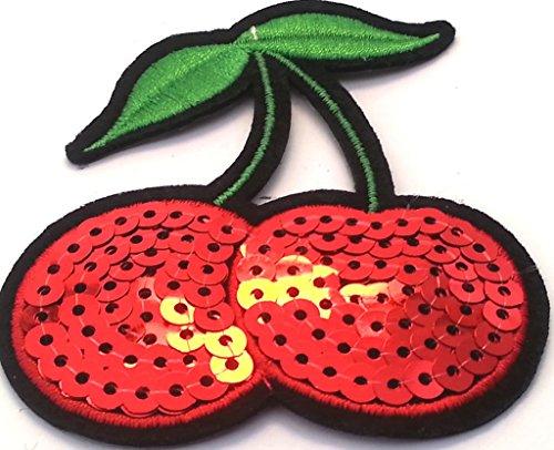 b2see Strass Glitzer Kirschen Aufnäher Aufbügler Bügelbilder Iron on Patches Applikation mit Pailletten Glitzer für Kleider Frauen zum aufbügeln Gltzer Cherry 7,5 x 6,5 cm