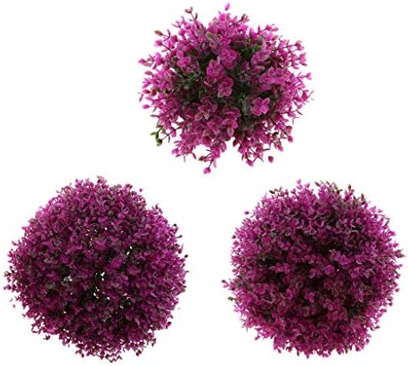 FLAMEER 3Pcs Set Artificial Eucalyptus Topiary Ball Faux Topiary Tree Substitute Purple Artificial product image