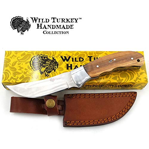 Wild Turkey Handmade Collection Fixed Blade Hunting Knife w/Leather Sheath