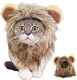 Disfraz de melena de león para gato, perro FayTun para Halloween, fiesta, cosplay, vestido de cabeza con orejas, pelo de león de fantasía para mascotas vestido para perro y gato