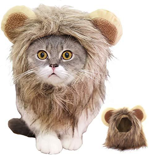 Disfraz de melena de león para gato, perro FayTun para Halloween, fiesta, cosplay, vestido de cabeza con orejas, pelo de león de fantasía para mascotas vestido para perro y...