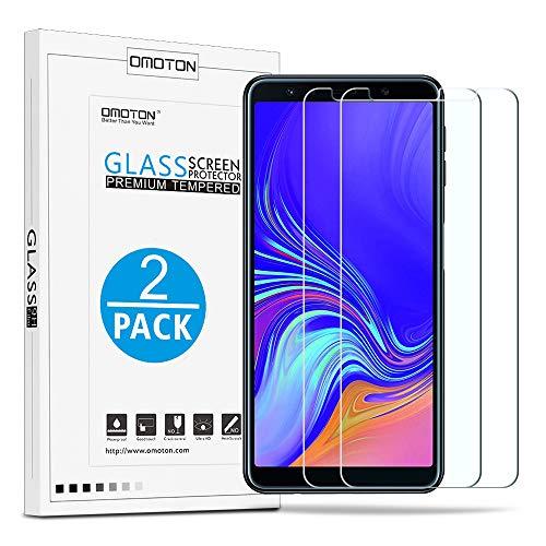 OMOTON [2 Stück] Panzerglas Schutzfolie für Samsung Galaxy A7 2018, Anti- Kratzer, Bläschenfrei,9H Härte, HD-Klar, [2.5D R&e Kante]