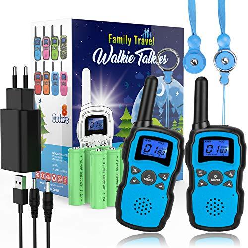 Wishouse M8 Walkie Talkie Niños Recargable Bateria 2X3000mAh Cargador USB,Portátil Walkie-Talkie Largo Alcance con Cordones,Juguetes de Camping con Linterna,Navidad Cumpleaños Regalos por la Familia