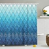 Stacy Fay Geometrischer Duschvorhang mit 12 Haken, Ombre Ombre Ozeanblau unregelmäßige Raute Meerjungfrau Waage Badezimmer Dekor 182,9 cm (Blau)