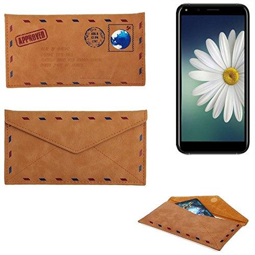 K-S-Trade® Für Doogee X53 Kunstleder Handyhülle Schutz Hülle Für Doogee X53 In Braun. Briefumschlagoptik Slim Case Cover Pouch Für Handys/Smartphones Bookstyle Wallet Case