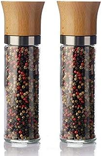 Pepparkvarns saltkvarnsats med 2 keramiska kvarnchilikvarnar - utan kryddinnehåll - 220 ml träbok