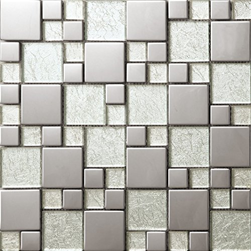 NEW !Tailles mixtes mosaico quadrato Vetro e acciaio inox mosaico mattonelle arte della parete 300*300mm--Cucina Backsplash/Parete da bagno/decorazione domestica(SA073-11/12)