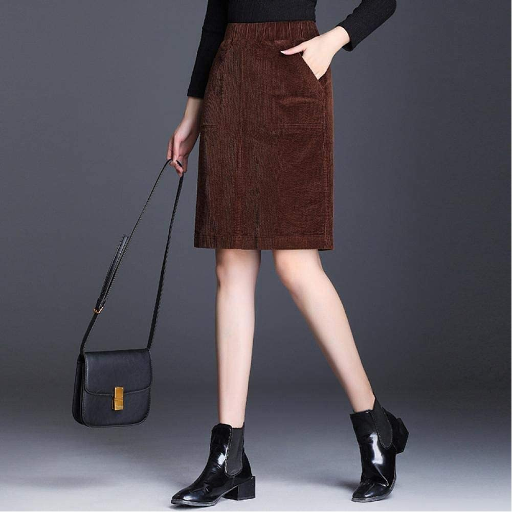 Corduroy Pencil Skirt Plus Size Women's Loose Skirt Elastic Waist Casual Bottoming Retro All-Match Color Women's Bag Skirt