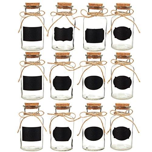 Juvale kleine glazen flessen met kurk stoppers (Set van 12) - ideaal voor doe-het-zelf ambachten, Home Decor, Party Favors - 8.5 Ounces