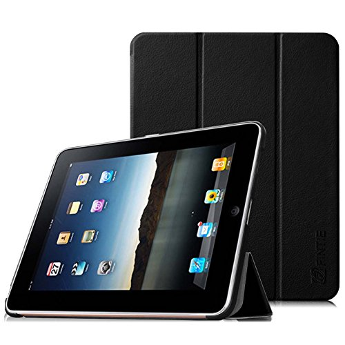 FINTIE Slimshell Case for Original iPad 1 - Super Thin Lightweight PU Leather Stand Cover for Apple iPad 1 1st Generation 2010, Black
