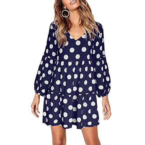 ELECTRI Femmes Vintage Bohémien Robe Chemise Imprimé à Manches 3/4 Tunique Mini Robe Tops Hauts Shirt