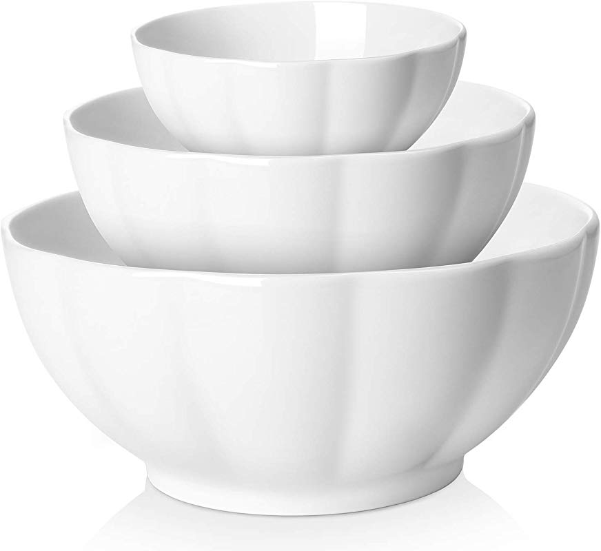 DOWAN Porcelain Serving Bowl Mixing Bowl Set Anti Slipping Nesting Bowls 3 Piece 4 7 Inches 6 Inches 8 Inches White