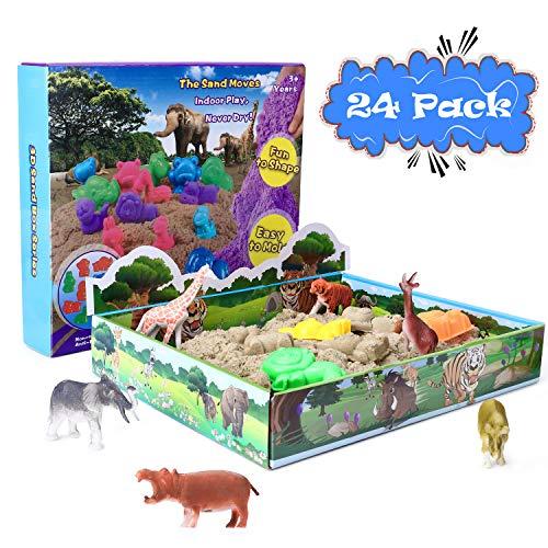 XDDIAS Magic Sand Set, 500g Play Sand mit 10 Sandformen & 12 Tierspielzeug - Kinetischer Sand Natürlichen Indoor Spielsand Geschenk für Kinder Jungen Mädchen