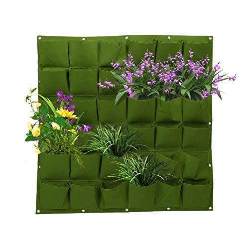 36 Bolsillos Bolsas para Plantas de Pared - Jardinera Vertical de Jardín Bolsas de Plantación Colgante Interior y Exterior Maceta Vertical para Plantas Hierbas, Verduras, Flores (verde)