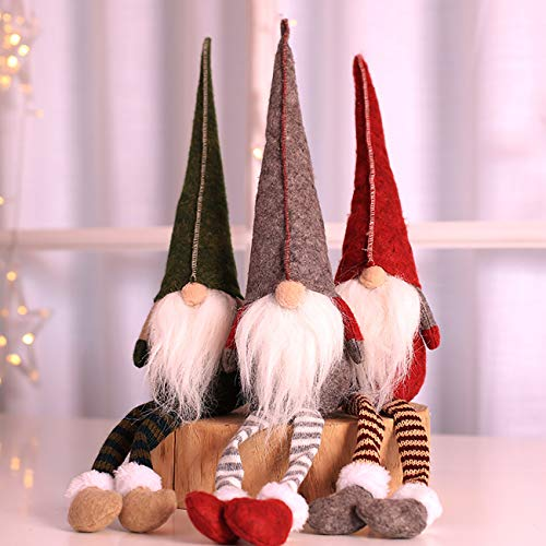 Uheng 3PCS Handmade Santa Gnome Tomte, Plush Toy Christmas Tree Topper Hanging Decorations, Winter Elf Table Holiday Ornament - Thanksgiving Day Gift - 20 Inches