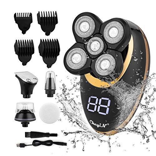 CkeyiN Elektrischer Rasierer Herren,Bartschneider Haarschneidemaschine,USB-Wiederaufladbar Profi Glatzen Haarscherer Männer und Nasenhaarschneider Nass &Trocken,Bartstyler mit LED-Anzeige